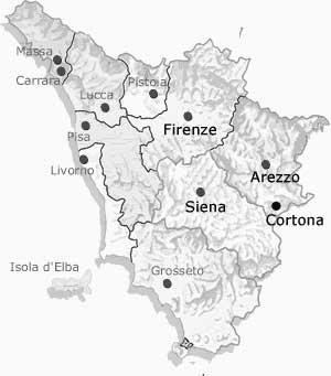 Tuscany Map Of Italy.My Travels In Italy Tuscany